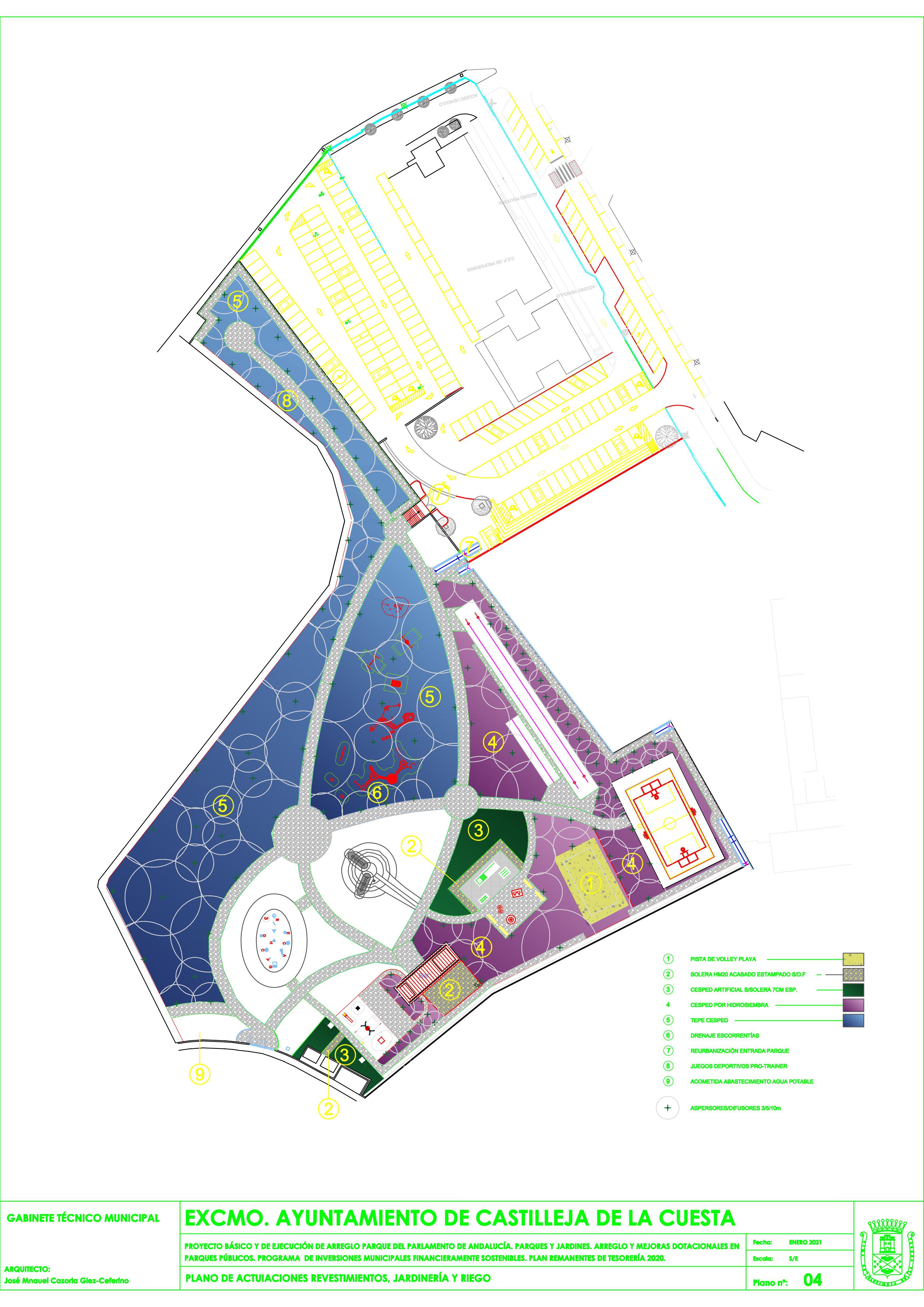mapa actuaciones 2021 Parque del Parlamento
